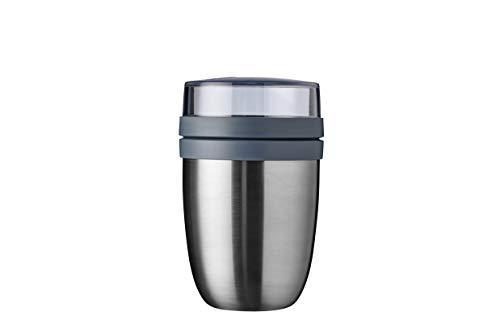 Mepal Lunchpot Ellipse gebürstet – 500 ml praktischer Thermo-Essensbehälter, Joghurtbecher, to go Becher – Hält Speisen Lange warm oder kühl, Edelstahl, Ø107x16900x