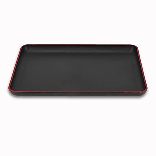 Serviertablett rechteckig, umweltfreundliche Kunststoff Gastrotablett Antirutsch Servierplatte für Bar Hotel Zuhause (schwarz)(694 39 * 28cm)