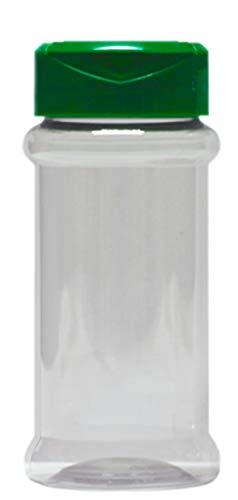 20 leere PET-Gewürzdose 100 ml mit UV-Schutz inkl. grüner Streuverschluss Dual Flap Flapper