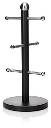 com-four® Tassenständer aus Edelstahl - Tassenbaum in schwarz - stilvoller Tassenhalter für die Küche - 34 cm (01 Stück - 34cm - schwarz)