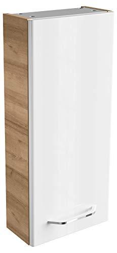 FACKELMANN Hängeschrank Milano/Badschrank mit Soft-Close-System/Maße (B x H x T): ca. 30 x 68 x 15 cm/Schrank fürs Bad mit 1 Tür/Türanschlag frei wählbar/Korpus: Braun hell/Front: Weiß