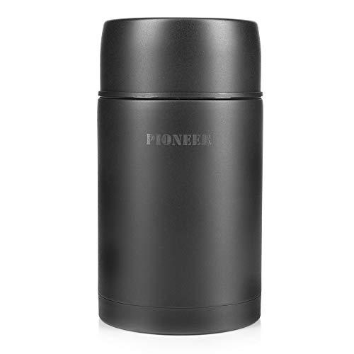 Pioneer Flasche mit Vakuumisolierung, auslaufsichere Flasche für Suppen und andere Lebensmittel, edelstahl, Schwarz , 1000ml / 1L