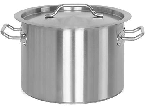 Beeketal 'BKT-14' Gastronomie Kochtopf ca. 13,5 Liter aus Edelstahl mit starken Griffen und Deckel, Topf für alle Herdarten geeignet (Induktion, Gas, Glaskeramik), ideal als z.B. Suppentopf