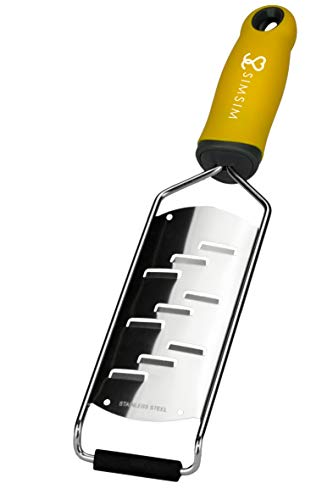 SimSim Profi HOBEL superscharfer Parmesanhobel - Edelstahl - gelber Griff - spülmaschinengeeignetes Küchenwerkzeug - Reibe -
