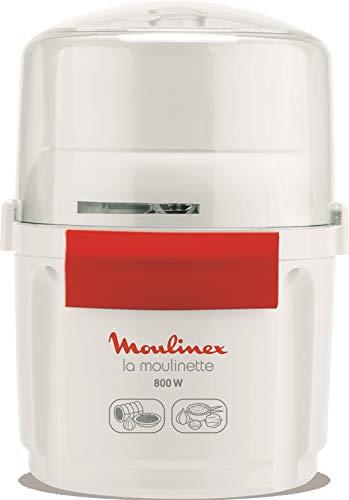 Moulinex AD5601 Moulinette-Zerkleinerer, 800 W, Hacken, Mixen und Kurz, System 1 – 2 – 3 Schnellbedienung, Klinge aus Edelstahl, Weiß und Rot