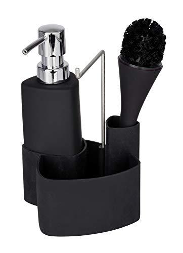 WENKO Spül-Set Empire Schwarz - Spülmittelspender, Spülbürste, Handtuchhalter Fassungsvermögen: 0.25 l, Soft-Touch Keramik, 11 x 19 x 12.5 cm, Schwarz