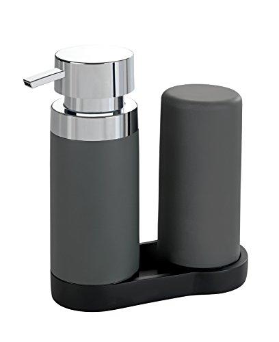 WENKO Easy Squeez-e Spülstation Grau - Seifenspender und Spülmittelspender Fassungsvermögen: 0.25 l, Polyresin, 15 x 18 x 7 cm, Grau