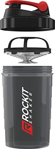 Rockitz Premium Protein Shaker 500ml - erstklassige Mischfunktion mit Infusion Sieb - für super cremige Fitness Eiweiß Shakes, Proteinshake Becher,Schwarz   Rot