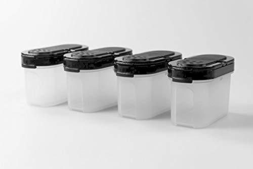 Tupperware Gewürz-Zwerge 120 ml (4) schwarz Gewürz Behälter Gewürzbehälter klein 37573