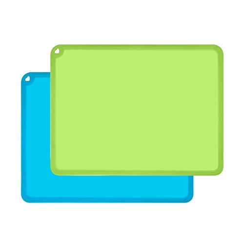 Silikon-Tischsets für Kinder, rutschfest, 2 Stück, blau/grün