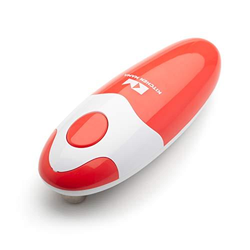 Kitchen Mama Elektrischer Dosenöffner - Konservenöffner mit Start & Stopp Funktion, glatte Kanten, ergonomisch, handfreundlich, ideal für Menschen mit Arthritis, kompaktes kabelloses Design - Rot