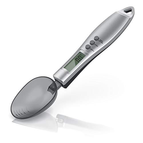 Löffelwaage digital 0,1g - Küchenwaage Feinwaage - LCD-Anzeige – Digitalwaage - Professionelles Küchenzubehör - 2 abnehmbare Löffel - Elektronische Waage für Baby Milchpulver Flüssigkeit Gewürze