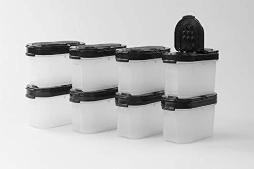 Tupperware Gewürz-Zwerge 120 ml (8) schwarz Gewürz Behälter Gewürzbehälter klein 37577