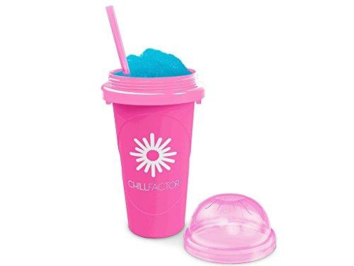 Slushy Maker Chillfactor Magic Freez | Slush Ice Becher mit Strohhalmlöffel | Eisbecher Glas Alternative für Eis selber machen | Slush Ice Maker Himbere (Himbeere)