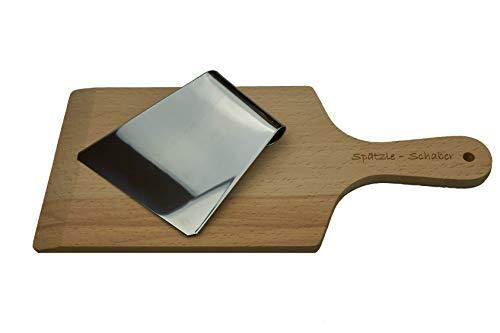Albgenuss Spätzleschaber-Set: Echtholz Spätzlebrett aus Buchenholz und Spätzlehobel aus Edelstahl