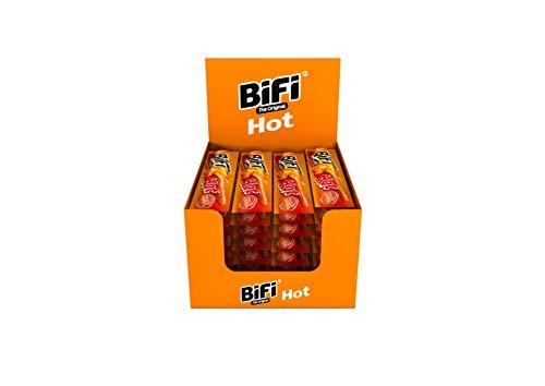 BiFi Hot – 40er Box (40 x 22,5 g) – Würziger Salami Fleischsnack – Geräucherte & pikante Mini Wurst als Snack to go