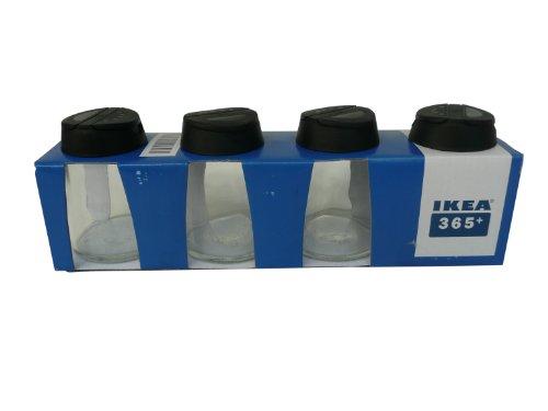 Ikea, IHÄRDIG 365+ 4er Set Gewürzdosen mit Deckel Spülmaschinenfest Höhe 8,5 cm Inhalt 15 cl