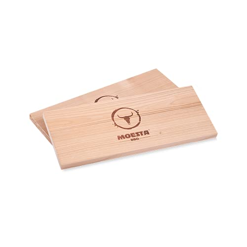 Moesta-BBQ 10682 - HolzPlanke XXL 2er Set aus Erlenholz – Wiederverwendbare Räucherbretter ohne Rinde in Übergröße