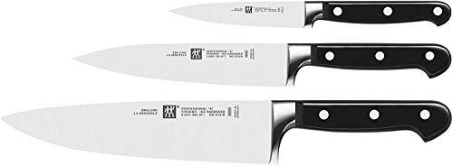 ZWILLING Messer-Set, 3-tlg., Spick-/Garniermesser, Fleischmesser, Kochmesser, Rostfreier Spezialstahl/Kunststoff-Griff, Professional S