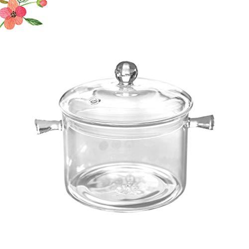 YARNOW Glastopf mit Deckel Hitzebeständiger Glasherd Topf Praktischer Glas Kochtopf mit Griff Multifunktionales Glaskochgeschirr Sicher für Nudeln Suppe Müsli Obst Babynahrung
