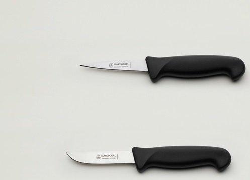 Kaninchenschlachtmesser-Set 2-tlg. Stechmesser + Abhäuter je 8,5 cm = 4', Kunststoffgriff schwarz, Marsvogel Solingen