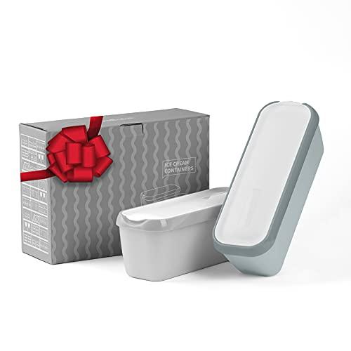 SveBake Eisbehälter für Speiseeis 1,4 Liter - 2er-Set Behälter mit Deckeln, Hausgemachte für EIS Creme, Grau