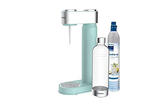 Philips ADD4902MT/10 GoZero Wassersprudler, 3x 1 L Design Kunststoff-Flasche, CO2 Zylinder, Mint