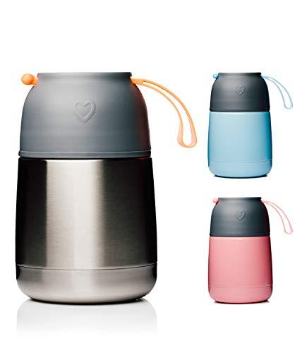 BOHORIA® Thermobehälter Lunchbox | Hochwertiger Isolierbehälter | Edelstahl | Thermo Gefäß für Babynahrung | Premium Speisebehälter | Warmhaltebox (Silver Steel)