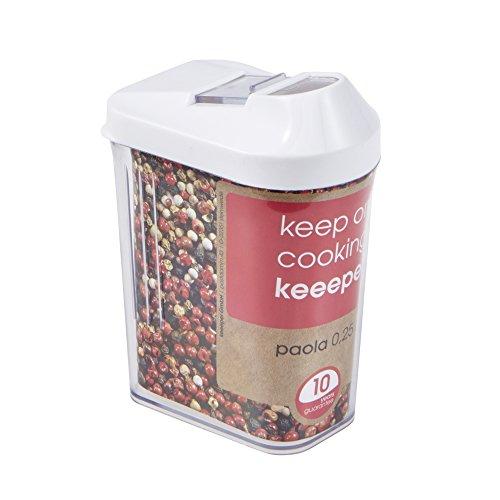Schüttdose für Trockenvorräte, Stufenlos verstellbarer Dosierdeckel, BPA-freier Kunststoff, 250 ml, 6,5 x 4 x 12 cm, Paola, Weiß