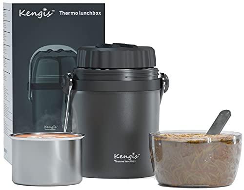 Kengis Thermobehälter Für Essen, Warme Speißen   950ml Thermo Lunchbox Für Suppe   Warmhaltebehälter aus österreichisch Edelstahl   Isolierbehälter   Speisegefäß (Grau,950ml)