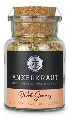 Ankerkraut Wok Gewürz, für Fleisch, Fisch oder Seafood und Gemüse aus der Pfanne, 95g im Korkenglas