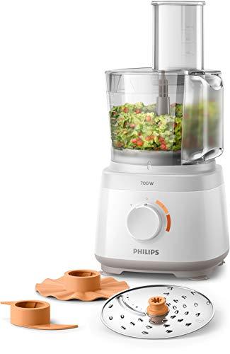 Philips HR7310/00 Küchenmaschine Daily Collection (700 W, 16 Funktionen, 2L Füllkapazität, 2-in-1 Schneidescheibe) weiß