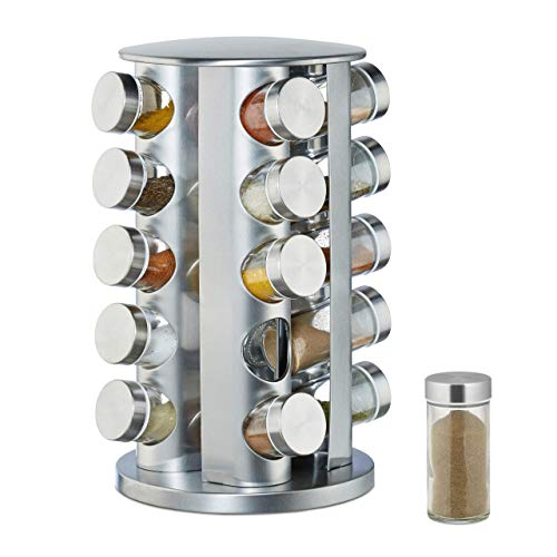 Relaxdays Gewürzkarussell mit 20 Gewürzgläsern, 360° drehbar, Gewürzdosen zum Streuen, 34,5 cm hoch, Edelstahl, silber
