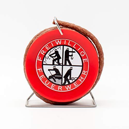 WURSTBARON® - Salami auf Feuerwehr-Trommel - Snack Wurst Mini-Kabeltrommel Schlauchtrommel Modell Freiwillige Feuerwehr - 3,5 Meter Wurst nach Krakauer Art - 240 g