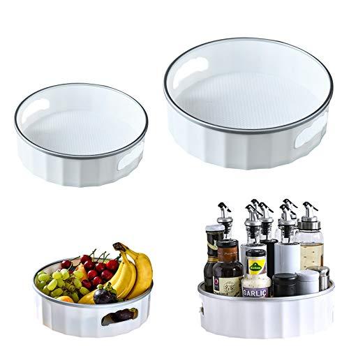 UHAPEER Drehteller Gewürzregal 2 Stück, 360° Gewürzflasche Organizer, Kosmetischer Aufbewahrungsbox, Robust Tablett Gewürzhalter, Für Küche, Badezimmer