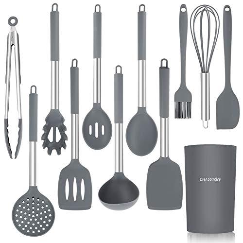 CHASSTOO Küchenhelfer Set Silikon, Antihaft Küchenutensilien Set, BPA-frei Küchengeräte Küchenzubehör Küchenset, Hitzebeständig Kochgeschirr, 12 Stücke Kochbesteck mit Edelstahlgriff Behälter Grau