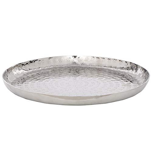 Butlers Oriental Lounge Deko-Teller Ø 28cm - Servierteller in Silber-Optik - gehämmerte Schale aus vernickeltem Aluminium