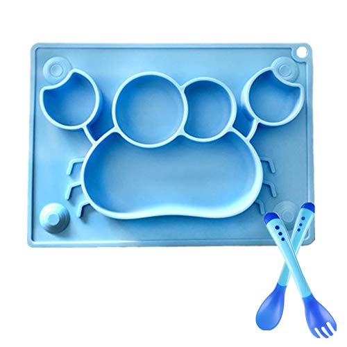Baby Essmatte Teller mit Löffel & Gabel Set- Silikon Rutschfester Baby Tischset mit Saugnäpf für Kleinkind Kinder, BPA-Frei, CE-Zertifizierung, Krabbenform Blau