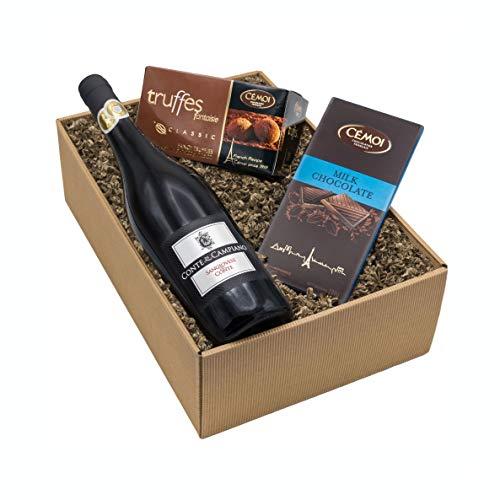 """Präsentkorb """"Gaumenfreude"""" Italienischer Rotwein Sangiovese und französische Schokoladentrüffel und Vollmilchschokolade als Geschenkset"""