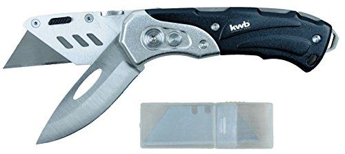 kwb Schweres Universal-Messer inkl. Cutter-Messer, klappbar, zwei extra scharfe 60 x 19 mm Klingen aus Metall, inkl. Ersatz-Klingen, Zweihand-Bedienung