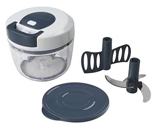 FACKELMANN Multi-Hacker #easyprepare, hochwertiger Multi-Zerkleinerer mit Seilzug, transparenter Auffangbehälter mit Frischhaltedeckel, sicher Halt durch Anti-Rutsch-Boden (Farbe: Weiß/Blau-Grau)