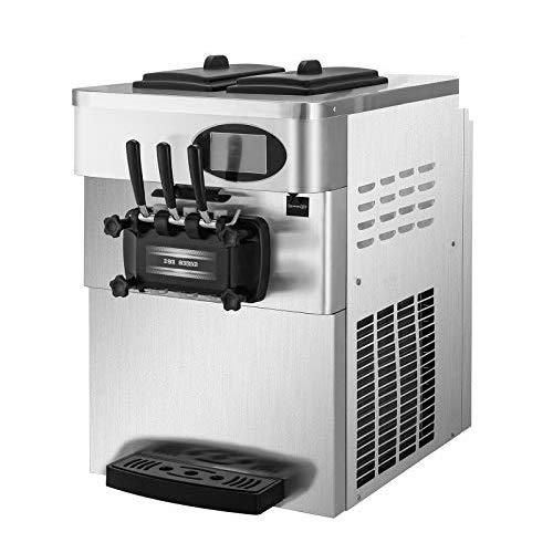 BuoQua Speiseeisbereiter Edelstahl Farbe Kommerzielle Softeismaschine Eismaschine Ice Cream maker 220V Edelstahl Maschine mit Eikegel und Vorgekühltes LCD Panel