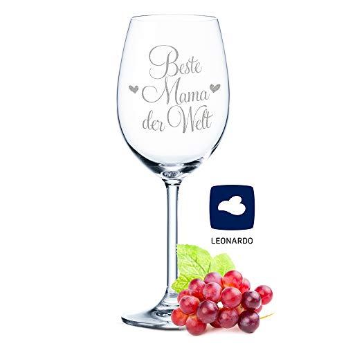 Leonardo Weinglas mit Gravur - Beste Mama der Welt - Geschenk für Mama ideal als Muttertagsgeschenk - Weißweinglas Rotweinglas als Geburtstagsgeschenk für Mama Farbe Daily Beste Mama der Welt