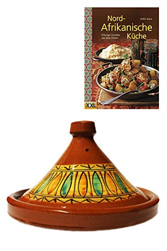Marokkanische Tajine Topf zum Kochen + Kochbuch   Schmortopf glasiert Gulnar Ø 30cm, für 4-5 Personen   inklusive Rezepte Buch Nord Afrikanische Küche   ORIGINAL Tontopf handgetöpfert aus Marokko