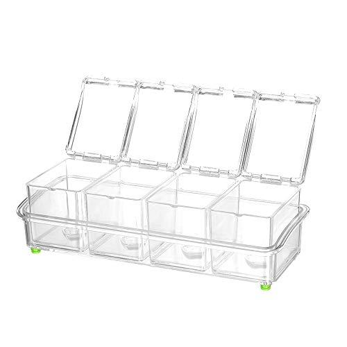 Decdeal Gewürzkartei Gewürzbox Gewürzbehälter aus lebensmittelechtem Kunststoff mit Löffel