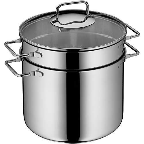 WMF Nudeltopf mit Sieb 24 cm Induktion, Kochtopf groß 7,0l, Spaghettitopf mit Glasdeckel, Cromargan Edelstahl poliert, Pastatopf