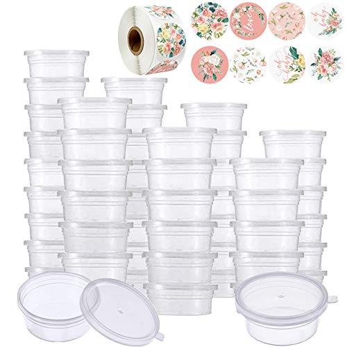 50 Stück Slime Aufbewahrungsbehälter, 1 Rolle runde Aufkleber, Transparenter Schleim Floam Beads Behälter Kunststoff Aufbewahrungsschleim mit Decke, Kleine Plastikbehälter mit Deckel