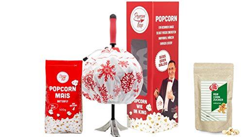 Popcornloop Lebkuchen Christmas Set Popcornmaschine mit Winterhaube, 500g Butterfly Mais und Lebkuchen Gewürz