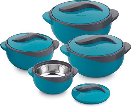 Pinnacle Parisa Auflauf-Set, Wärmedämmung, Töpfe zur Lebensmittelaufbewahrung, rund, blau, 4 Stück, Plastik, blau, 44 x 23.2 x 14.7 cm