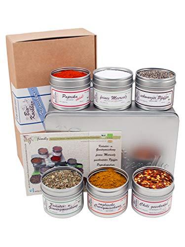 direct&friendly Bio Gewürze Geschenkset mit Chili, Curry, schwarzem Pfeffer, Meersalz, Paprika edelsüß und Kräuter- und Gewürzmischung
